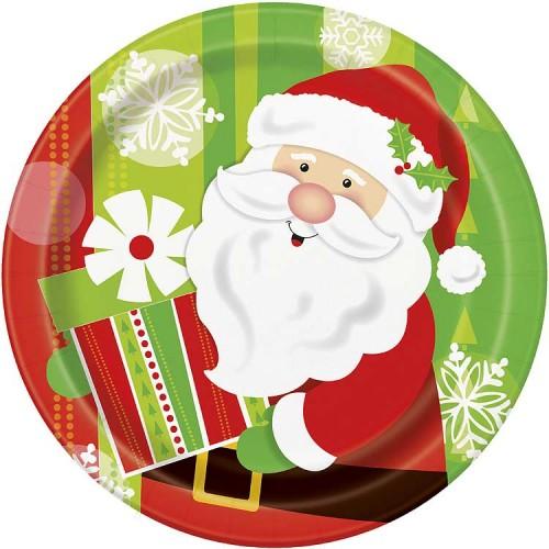 "9"" Plates - Happy Santa 8CT."