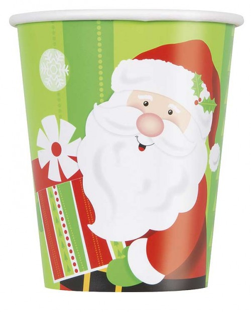 9 Oz. Cups - Happy Santa 8CT.