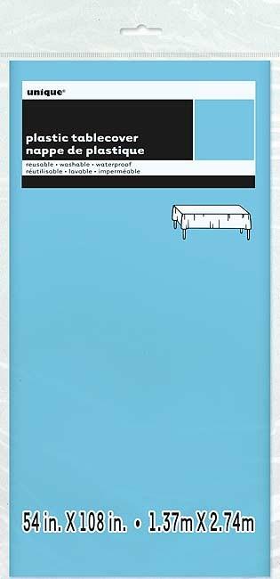 "Powder Blue Plastic Tablecover 54"" x 108"""