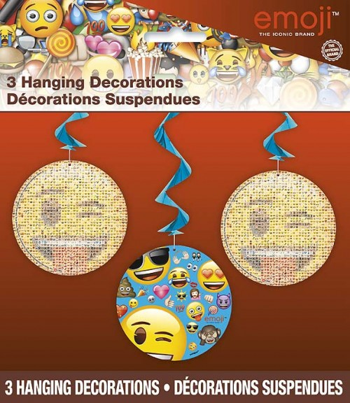 "emoji Hanging Swirl Decorations 26""L - 3ct."