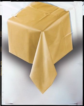 "Gold Plastic Tablecloth 54""x108"""