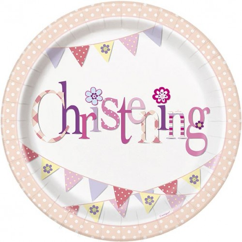 "Christening Pink 9"" Plates 8CT."