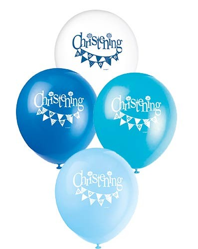 "12"" Christening Blue Balloons 8CT."