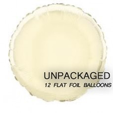 "Ivory - Round Shape - 18"" foil balloon (Pack of 12, Flat)"