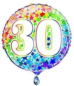 """Age 30 - Rainbow Stars  - 18"""" Foil Balloon"""