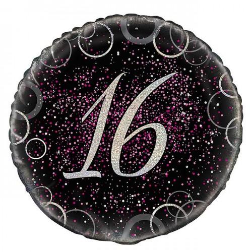 """Age 16 - 18"""" Pink Glitz Round Prism Balloon"""