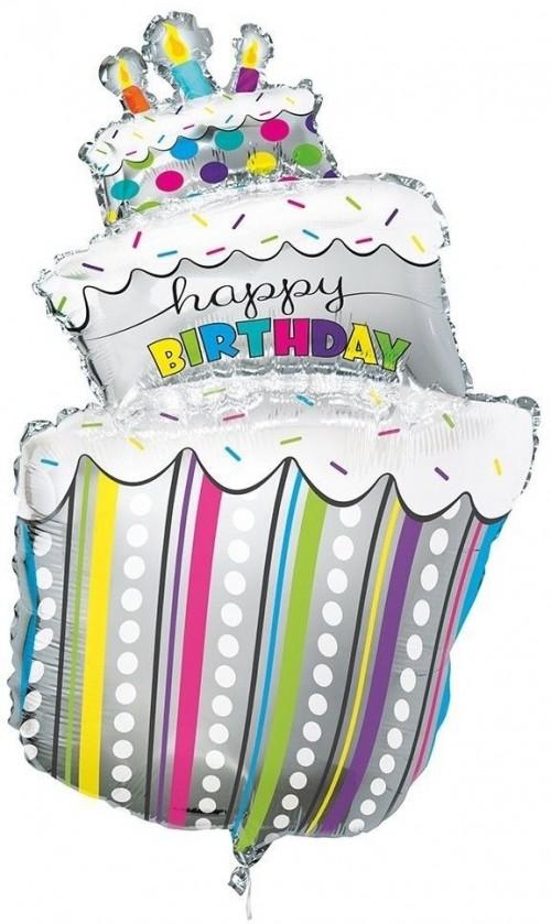 Happy Birthday Cake 40in  Foil Balloon