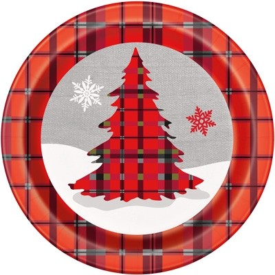 "9"" Round Plates - Rustic Christmas Plaid 8CT."