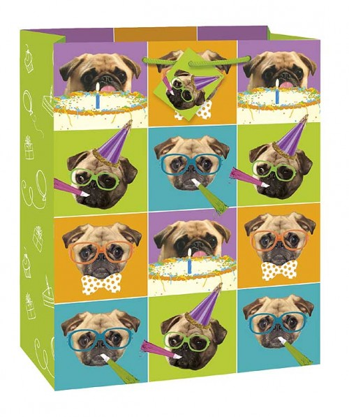 Pug Puppy Party Large Gift Bag 12½H x 10½W (12 gift bags, .59 each)