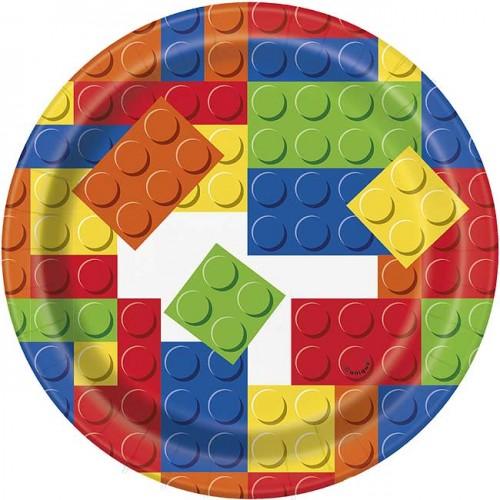 "7"" Plate - Building Blocks - 8ct. 12PK."