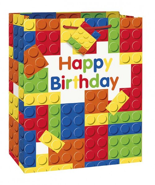 Large Gift Bag - Building Blocks Party (12 gift bags , .79 cent each )