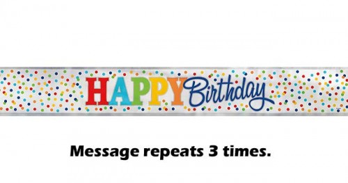 Happy Birthday Rainbow Polka Dot Foil Banner 12ft.