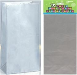 Paper Party Bags - Silver Metallic 10ct