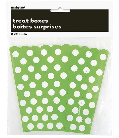 Lime Green. Dots Treat Boxes 8 CT.