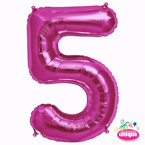 "34"" Pink Number 5 foil balloon"