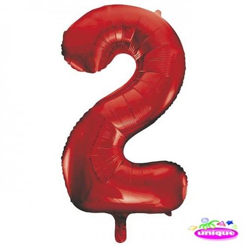"""34"""" Red Number 2 Foil Balloon"""