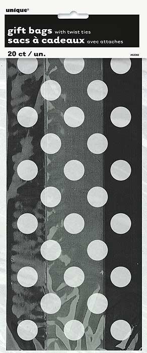 Midnight Black. Dots Cello Bags 20 CT.