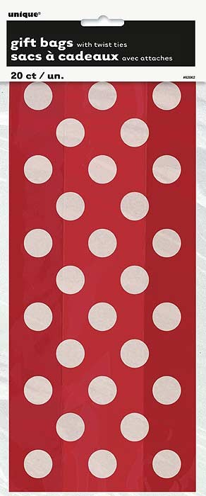 Ruby Red. Dots Cello Bags 20 CT.