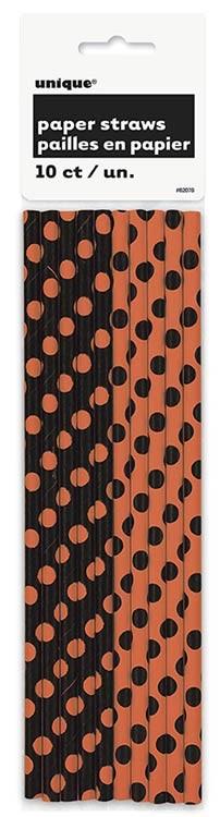 Orange& Black Dot Paper Straws - 2 Designs 10CT.