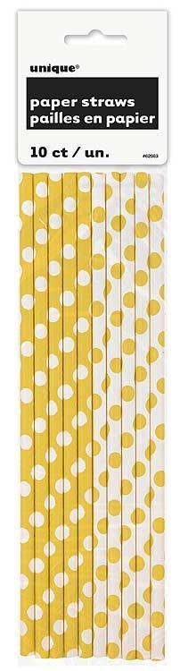Sunflower Yellow. Dots Paper Straws 10 CT.
