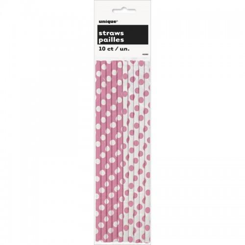 Hot Pink. Dots Paper Straws 10 CT.