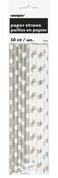 Silver. Dots Paper Straws 10 CT.