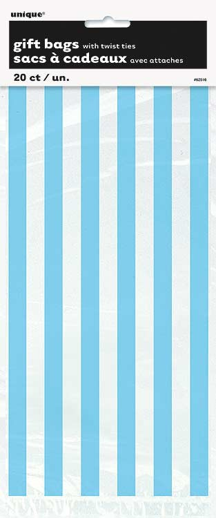 """Powder Blue Stripes Cello Bags 20CT - 11""""H x 5""""W"""
