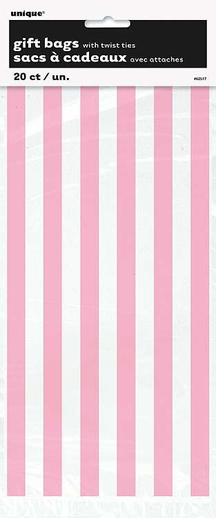 """Lovely Pink Stripes Cello Bags 20CT - 11""""H x 5""""W"""