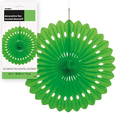 Decorative Fans 16'' 1CT.  Lime Green