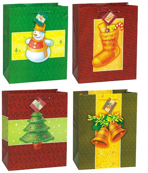 """Holiday Classic Gift Bag 12.5""""H x 10.5""""W 4 Assorted Designs"""