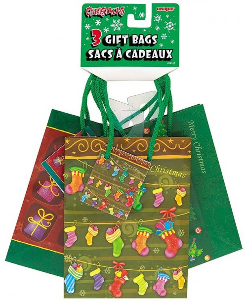 """Christmas Small Gift Bag - Colourful 5.5""""H x 4.5""""W 3CT. Assorted Designs"""
