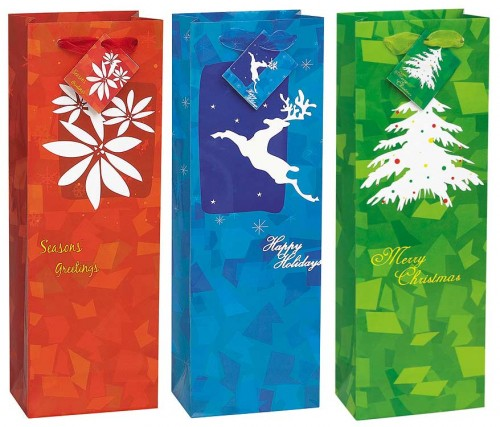 "Timeless Christmas Wine Bag 14""H x 5""W"