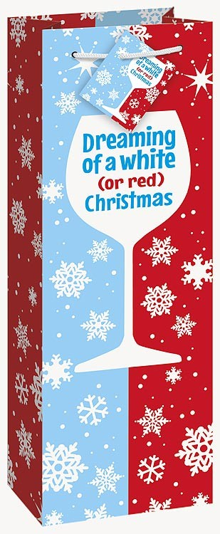 "Red or White Christmas Glossy Wine Bag 14""H x 5""W"