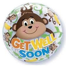 """Get Well Monkeys 22"""" Bubble"""