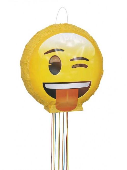 """3D Pull Piñata - emoji Wink - 16""""H x 16""""W"""