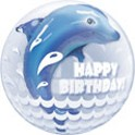 """Birthday Wave  Jumping Dolphin 22"""" Bubble"""
