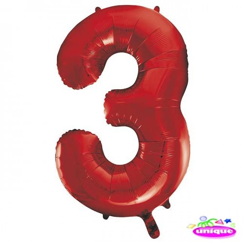 """34"""" Red Number 3 Foil Balloon"""