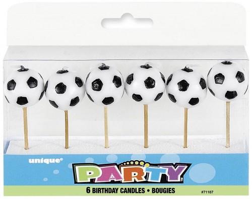 "Soccer Ball Pick Birthday Candles 3.25"" H 6CT."