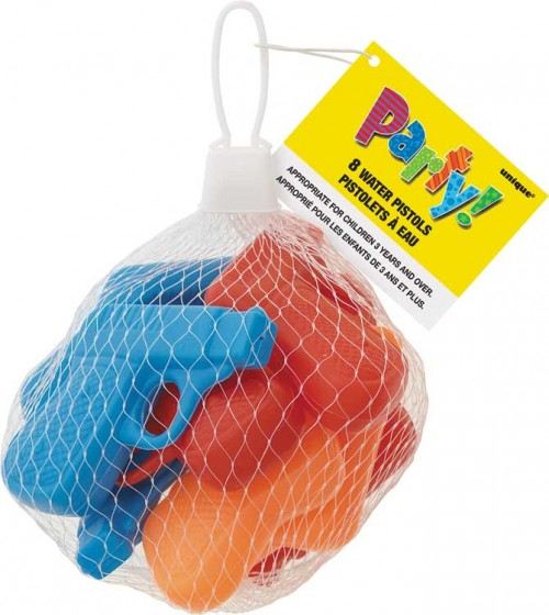 8 Water Pistols Assorted Colours Net Bag - Box of 8