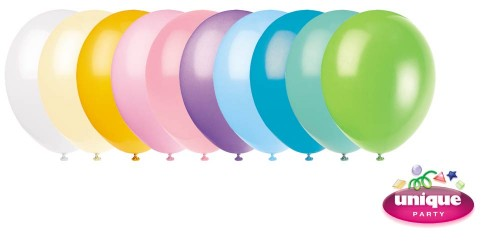 "12"" Pastel Colour Assortment - Helium Quality Balloon 10 CT."