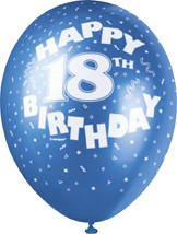"18th Birthday 12"" Latex Helium Fill Balloon - Pearlized Assorted Colours, Printed All Around - 5ct"