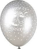 """25th Anniversary Silver 12"""" Latex Helium Fill Balloon - Pearlized Assorted Colours, Printed All Around - 5ct"""