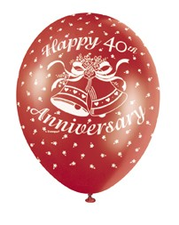 """40th Anniversary Ruby 12"""" Latex Helium Fill Balloon - Pearlized Assorted Colours, Printed All Around - 5ct"""