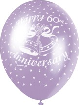 """60th Anniversary Diamond 12"""" Latex Helium Fill Balloon - Pearlized Assorted Colours, Printed All Around - 5ct"""