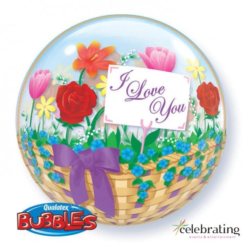 "I Love You Flower Basket 22"" Bubble"