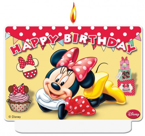 Minnie Cafe Happy Birthday Decor Candle