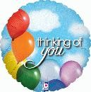 """Thinking of You Balloon Sky Holographic - 18"""" foil balloon"""