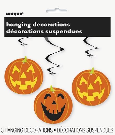 "Pumpkin Hanging Swirl Decoration 26"" L 3CT."