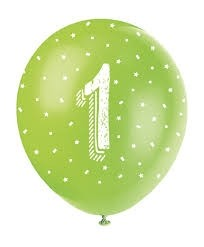 """Age 1 5CT 12"""" Helium Fill Latex Balloon- Pearlized Assorted Colours, Printed All Around - 5ct"""