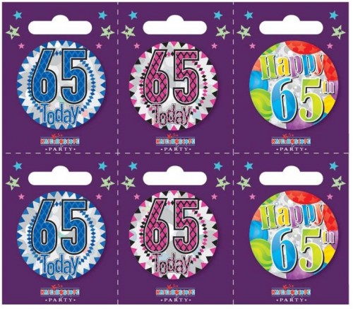 Age 65 Small Badges (5.5cm)